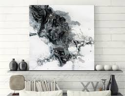 modern black white. Modern Black And White Abstract Print, Ready To Hang, Large Wall Art, Print