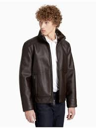 mens calvin klein clothing pebble faux shearling jacket hertiage brown