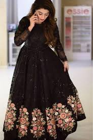 Designer Gown In Black Colour Net Embroidery Gown In Black Colour Dresses Designer