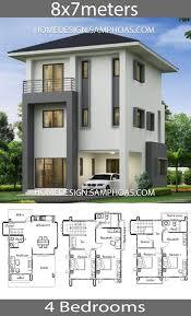 Facades De Maison Design House Design Plans 8x7m With 4 Bedrooms Plan Maison