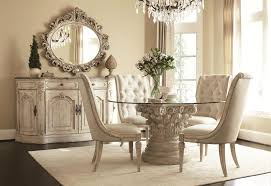 dining room cream carving wooden base with round glass top combined with cream chairs on