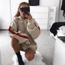 plus size women tumblr women oversized hoodies dress female long sleeve fleece sweatshirt