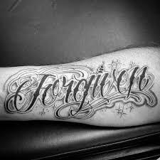 word tattoo designs. Beautiful Designs Forgiven Decorative Mens Inner Forearm Tattoo On Word Designs I