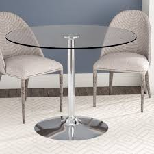 Round glass tables and chairs Clear Glass Wayfair Wade Logan Cavell Round Glass Dining Table Reviews Wayfair