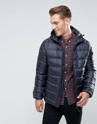 bellfield blue lightweight padded jacket with hood for men lyst