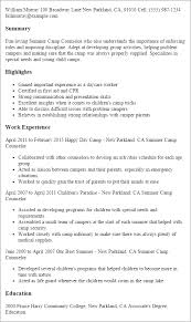 Lifeguard Resume Best Of Summer Camp Counselor Resume High School