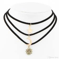 whole star moon sun pendants choker leather links statement necklace designer jewelry stainless steel jewelry chokers gifts charm necklace