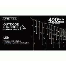 Twinkle Icicle Led Lights Lumineo 490 Led Cool White Hanging Twinkle Icicle Christmas Lights Set White Wire 65 5 Feet