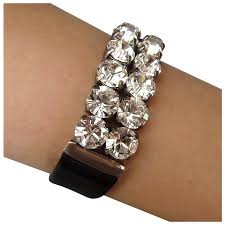swarovski crystal rhinestones on black leather cuff bracelet design yifat aharoni romantic contemporary jewelry design ruby lane
