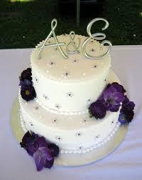 Simple Buttercream Wedding Cake Designs Silver Purple Wedding