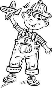Disegno Di Bambino Che Gioca Con Un Aeroplano Giocattolo Da Colorare