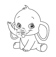 Small Picture Cute Baby Elephant animal coloring page for kids animal coloring