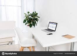 facebook home office. Home Office Laptop Facebook Logo Smartphone Notebook Table \u2014 Stock Photo