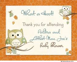 Feathery Fall Thank You Card  Baby Shower Hoot OwlOwl Baby Shower Thank You Cards