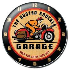 busted knuckle retro rider wall clock 14 inch clocks