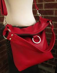 red leather bag fold over bag leather tote large slouchy 3 way purse watermelon