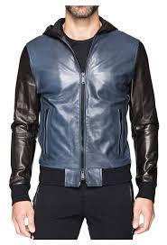 retro hooded leather jacket