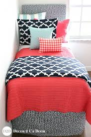 Coral Quilt, Navy + Canal Blue Bedding Set & Coral Quilt, Navy & Canal Blue Designer Teen Girl Bedding Set Adamdwight.com
