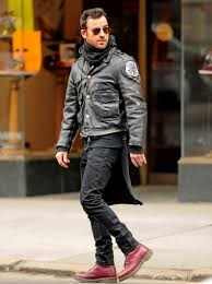 justin theroux sports a chicago police leather jacket with red dr martens boots and ray