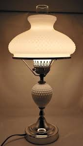 vintage electric table lamp with hob nail milk glass shade diameter hobnail vintage milk glass