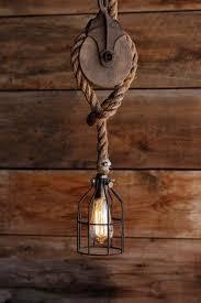 wood rope pendant lighting the wood wheel pulley pendant light rustic industrial
