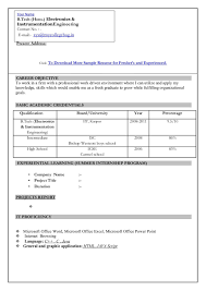 New Resume Format For Freshers It Resume Cover Letter Sample