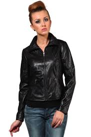 black leather jacket with shirt collar for women jkf1353