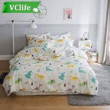 vclife twin cotton bedding sets dinosaur adenture duvet cover sets boys girls bedding collections for all seasons queen
