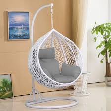 rattan patio egg chair swing garden hanging seat cushion and rain cover in outdoor