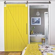 the picture for the sliding barn door is more flattering apartment therapy but functionality wise i am uncertain which one would suit our little home