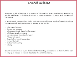 Sample Agendas For Board Meetings Example Of An Agenda Template Board Meeting Outline A Sample