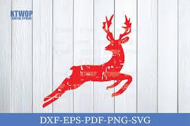 Christmas Grunge Elements Deer Jump C Graphic By Ktwop Creative Fabrica