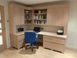 Stylish home office desks Affordable Corner Cabinets And Shaped Computer Desk Office Furniture With Blue Ergonomic Swivel Chairs In Home Office Design Gabkko Corner Cabinets And Shaped Computer Desk Office Furniture With