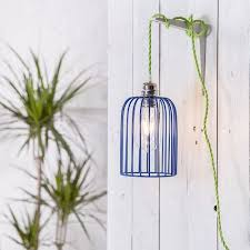 funky lighting. brighten up your kitchen decor with this blue edison cage pendant light shade itu0027s easy to hang its funky green long cord lighting
