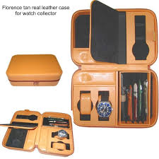 genuine leather watch storage case with compartments and slots leather watch straps