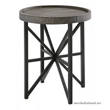 ashley furniture signature design cazentine contemporary rustic round end table distressed top grayish brown black b07f2twssy