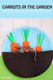 carrots in the garden craft for kids easy paper plate spring or easter craft for
