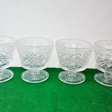 vintage hazel atlas desert cups set 4 pressed glass gothic diamo