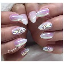 White ombré almond nails chrome nail art Swarovski design ...
