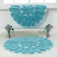 bursting flower 2 piece bath rug set 24 and 30 round white c for teal bathroom