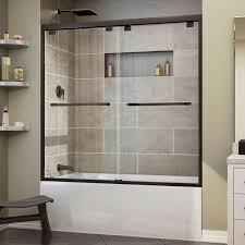 door in oil rubbed bronze finish new dreamline encore 56 60 in w x 58 in h bypass sliding tub