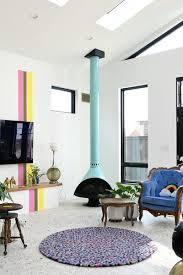modern living room corner fireplace