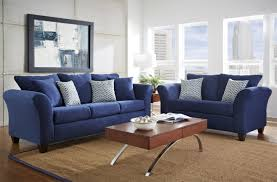 fantastic blue living room decor dark blue microfiber arms sofa sets brown solid wood coffee table