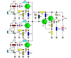 schematic wiring diagram channel audio mixer circuit 3 channel audio mixer circuit