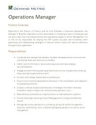 operation manager job description