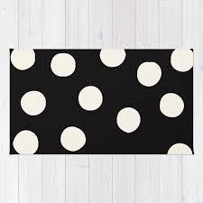 black white random polka dots rug