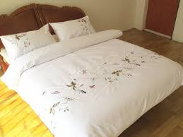 4pcs elegant white duvet cover embroidered queen king size quilt