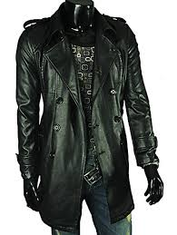lapel double ted men s long leather coat