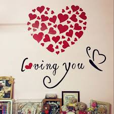 romantic loving you hearts design 3d acrylic wall stickers for valentine wall decoration