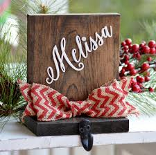 Personalized Stocking Holder, Wood Stocking Holder For Mantle Top, Rustic  Christmas Decor, Stocking